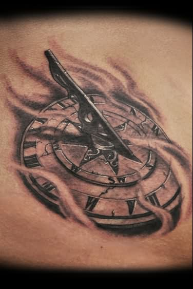 realistic-cracked-3d-sundial-tattoo