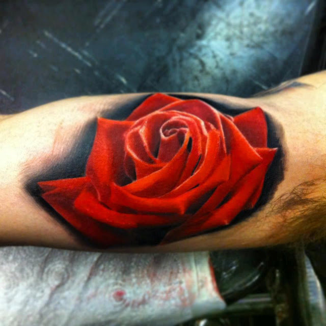 realistic-red-rose-3d-tattoo-on-arm
