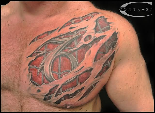 red-3d-spiderman-rip-skin-tattoo-on-chest