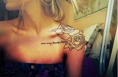 Rose And Lettering Collarbone Tattoos