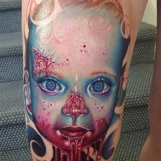 scary-bleeding-3d-face-tattoo