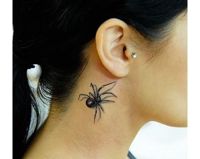 small-black-3d-spider-tattoo-on-neck