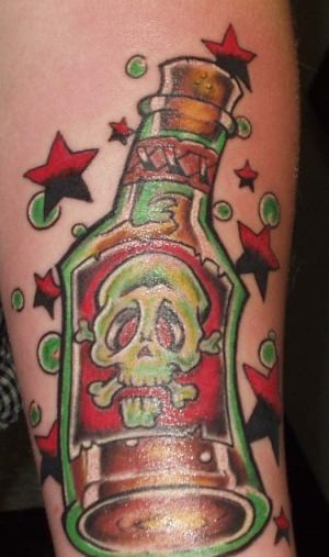 Stars Around Poison Bottle-3D Tattoos