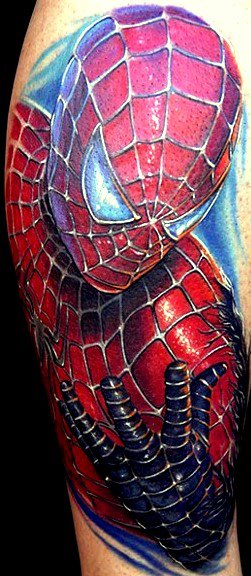 stunning-3d-spiderman-tattoo-on-sleeve