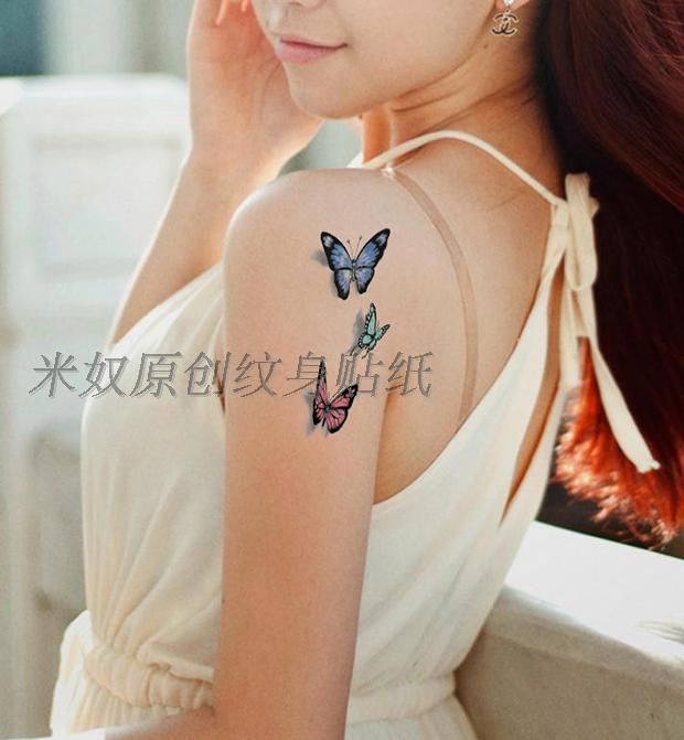 sweet-color-3d-butterflies-tattoos-for-girls