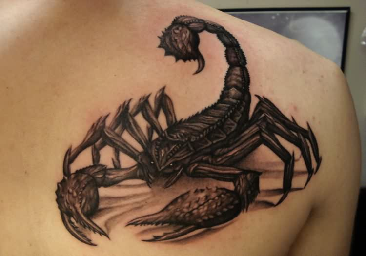truly-amazing-grey-3d-scorpion-tattoo-on-back-shoulder