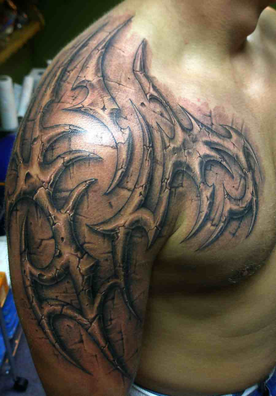 truly-awesome-grey-3d-tribal-tattoo-on-arm