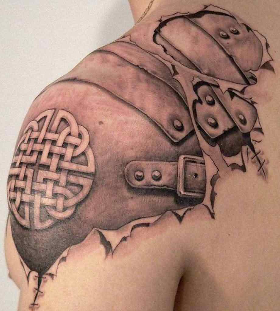 unforgettable-3d-celtic-armor-tattoo-on-shoulder