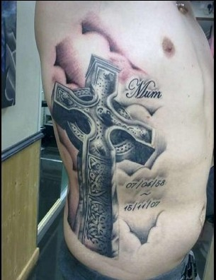 unforgettable-grey-3d-celtic-cross-tattoo-on-right-side