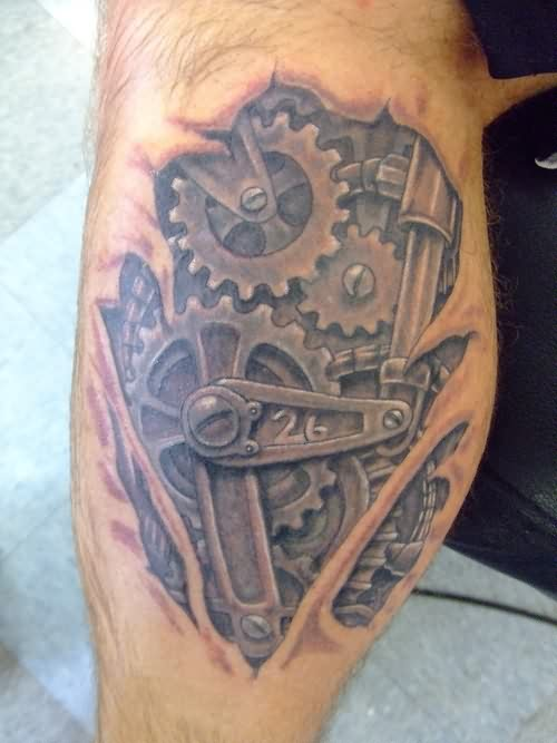 unforgettable-grey-3d-gears-skin-rip-tattoo-on-leg