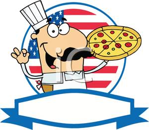 A Colorful Cartoon Pizza Chef With A Prize Pizza Tattoo Design