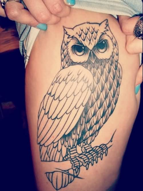 A Grey Owl Tattoo On Thigh