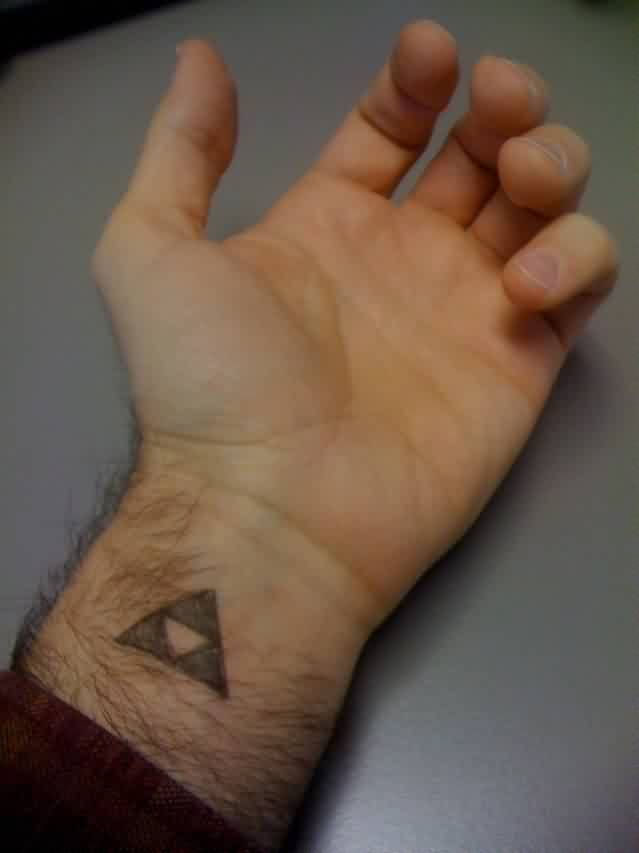 A Small Triforce Triangle Tattoo On Inner Wrist