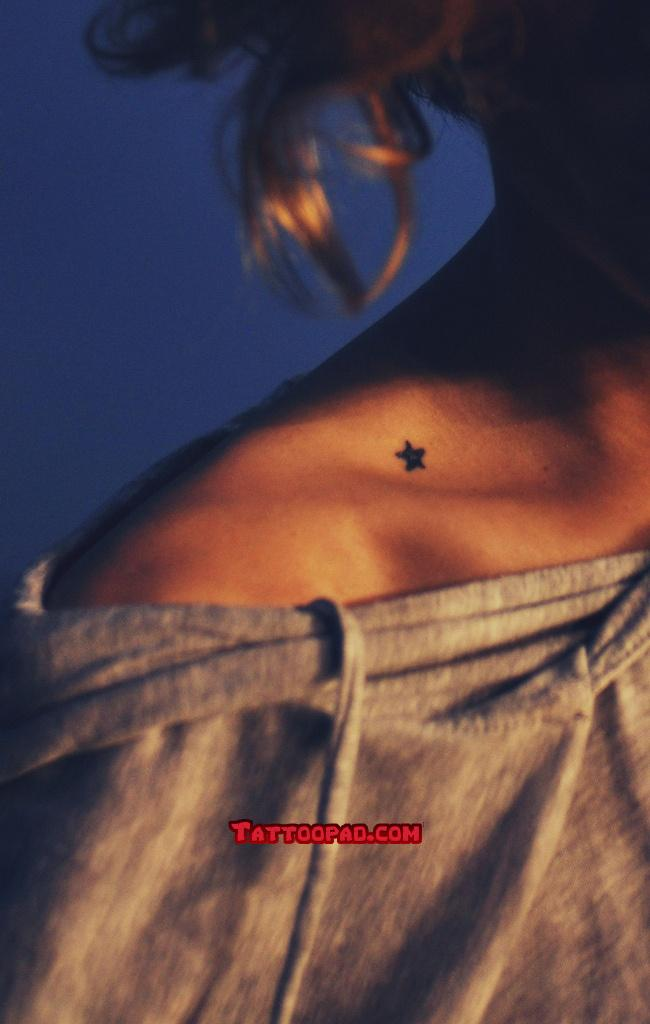 A Tiny Star Tattoo On Collarbone For Girls