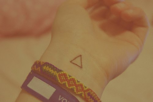 A Very Cute Triangle Tattoo On Inner Wrist