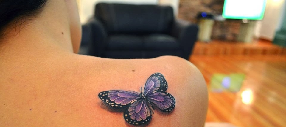 A Very Lovely 3D Butterfly Tattoo On Back Shoulder