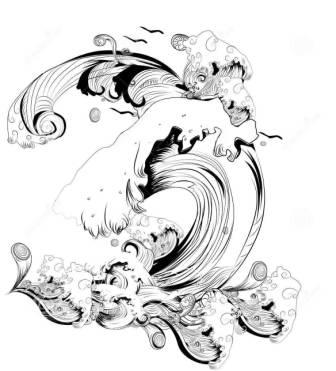 Abstract Black White Waves Tattoo Model