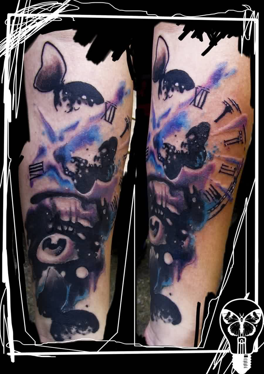Abstract Clock Cover Up Tattoo