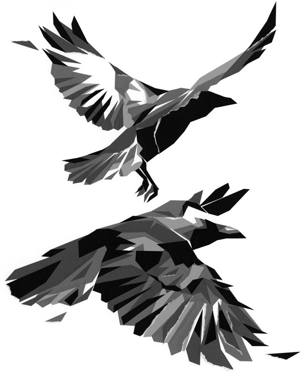 Abstract Crow Tattoo Designs