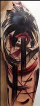 Abstract Crow Tattoo On Half Sleeve