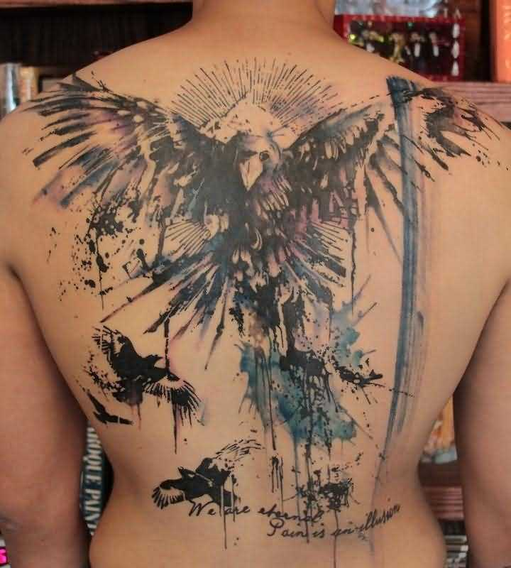 Abstract Owl And Bird Tattoos On Backbody