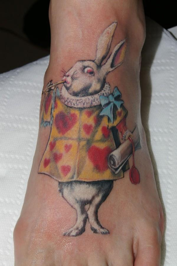 Alice Rabbit Tattoo On Foot