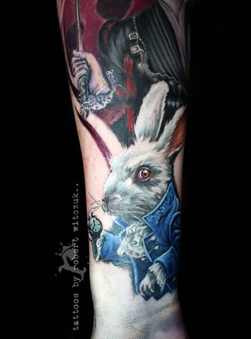 Alice Rabbit Tattoo On Lower Arm