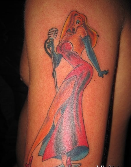 Alluring Jessica Rabbit Tattoo On Arm For Men