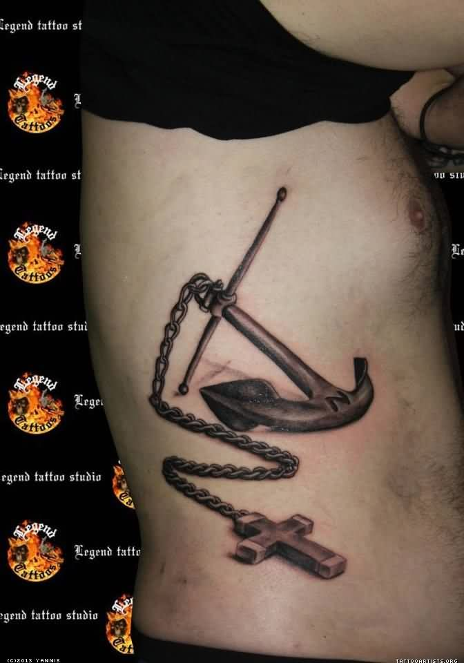 Amazing 3D Anchor And Chain Cross Tattoos On Ribs