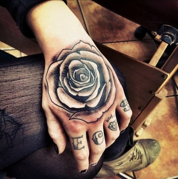 Amazing 3D Grey Rose Tattoo On Hand