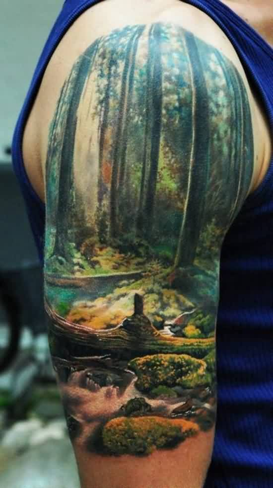 Amazing 3D Nature Scene Tattoo On Half Sleeve