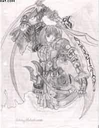 Amazing Anime Warrior Tattoo Sketch