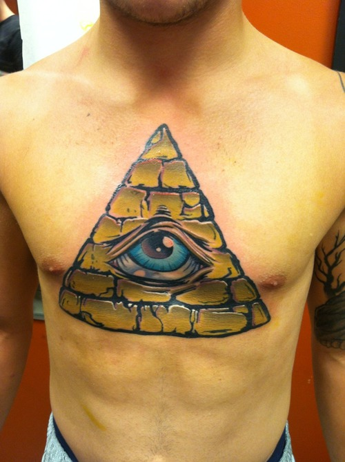 Amazing Big Size Triangle Eye Tattoo On Chest