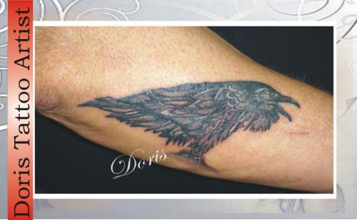 Amazing Black Crow Tattoo Photo