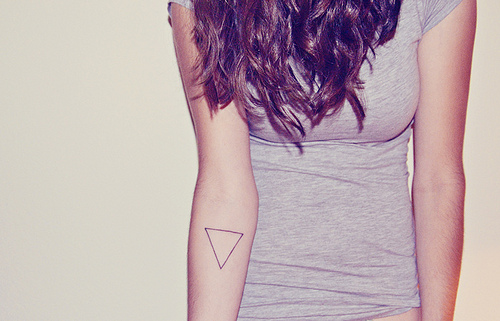 Amazing Black Outline Triangle Tattoo On Right Arm