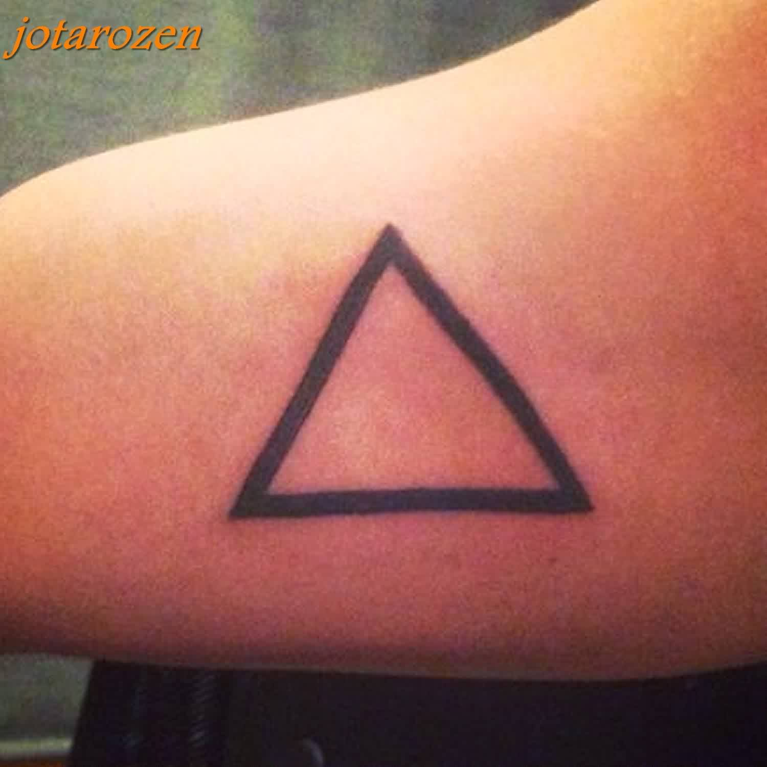 Amazing Black Outline Triangle Tattoo