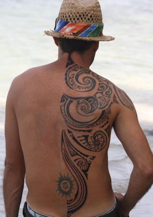 Amazing Black Polynesian Tattoos On Back Body