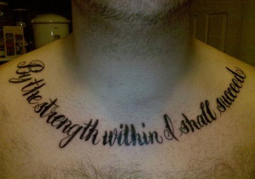 Amazing Black Quote Tattoo On Collarbone