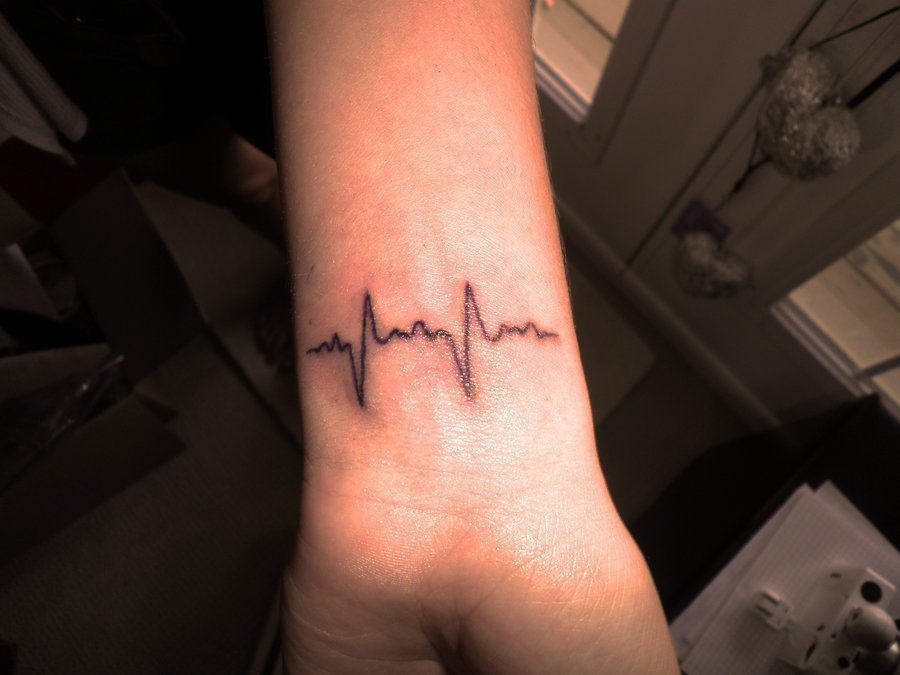 Amazing Black Wave Heartbeat Tattoo On Wrist