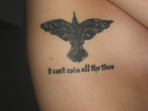 Amazing Crow And Quote Tattoos