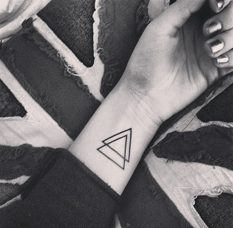 Amazing Double Triangle Tattoos On Inner Wrist