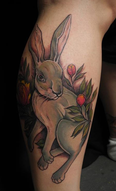 Amazing Forest Rabbit Tattoo On Arm For Men