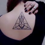 Amazing Geometric Triangle Tattoo On Upperback