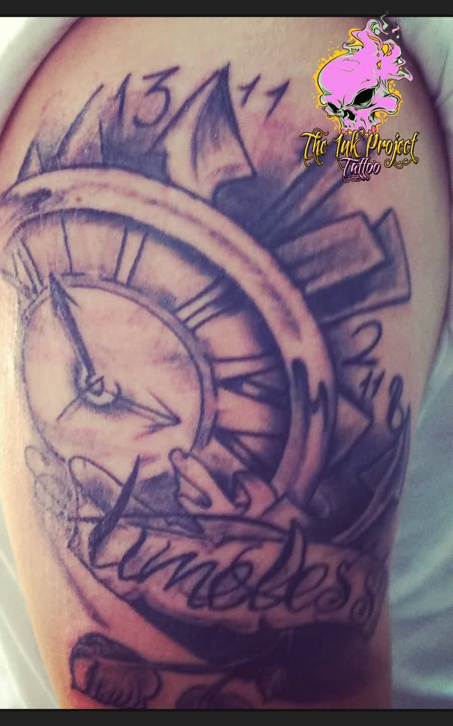 Amazing Grey Clock Tattoo On Biceps