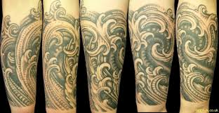 Amazing Grey Ink Biomechanical Waves Tattoos