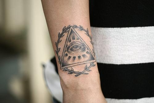 Amazing Grey Ink Triangle Tattoo On Wrist