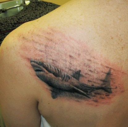 Amazing Grey Shark Tattoo For Men