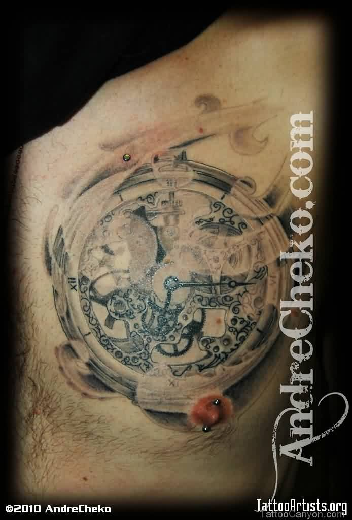 Amazing Mechanical Clock Tattoo On Chest