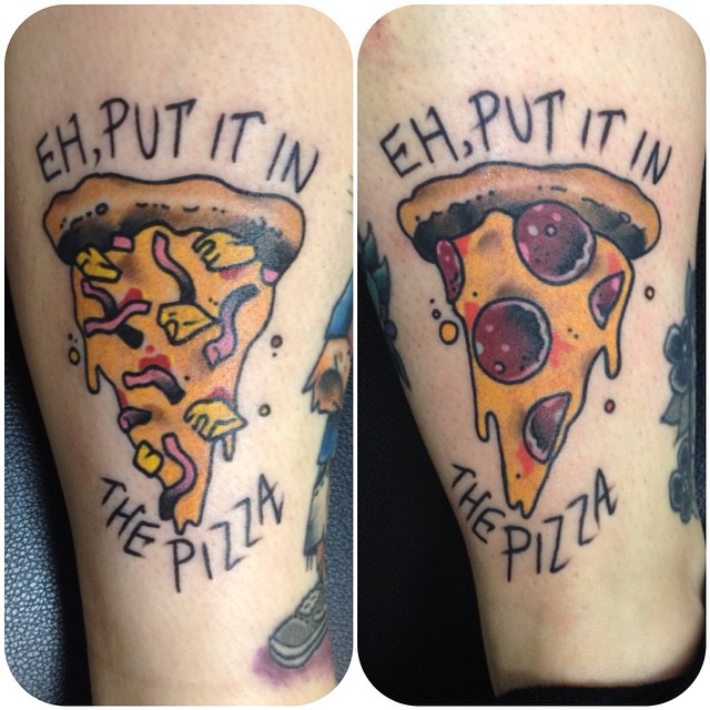 Amazing Pizza Leg Tattoos