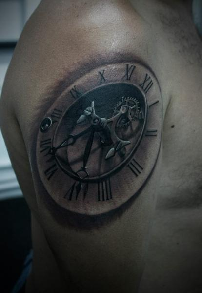 Amazing Realistic Gear Clock Tattoo On Shoulder